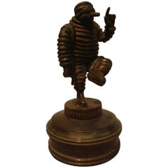 Bibendum Michelin Man Bronze Car Mascot, Hood Ornament, Automobilia