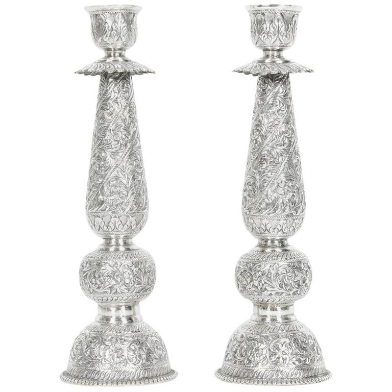 Antique Sterling Silver Pair of Candlesticks