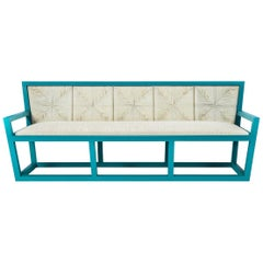 Sofa Mediterraneo in lacquered wood and rope, made in Italy