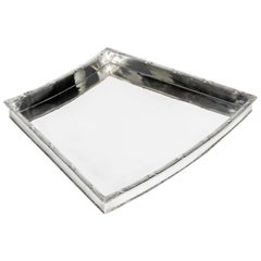 English Silver Plate Geometric Shape Barware Tray