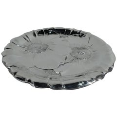 Beautiful American Modern Sterling Silver Flower Blossom Cake Plate