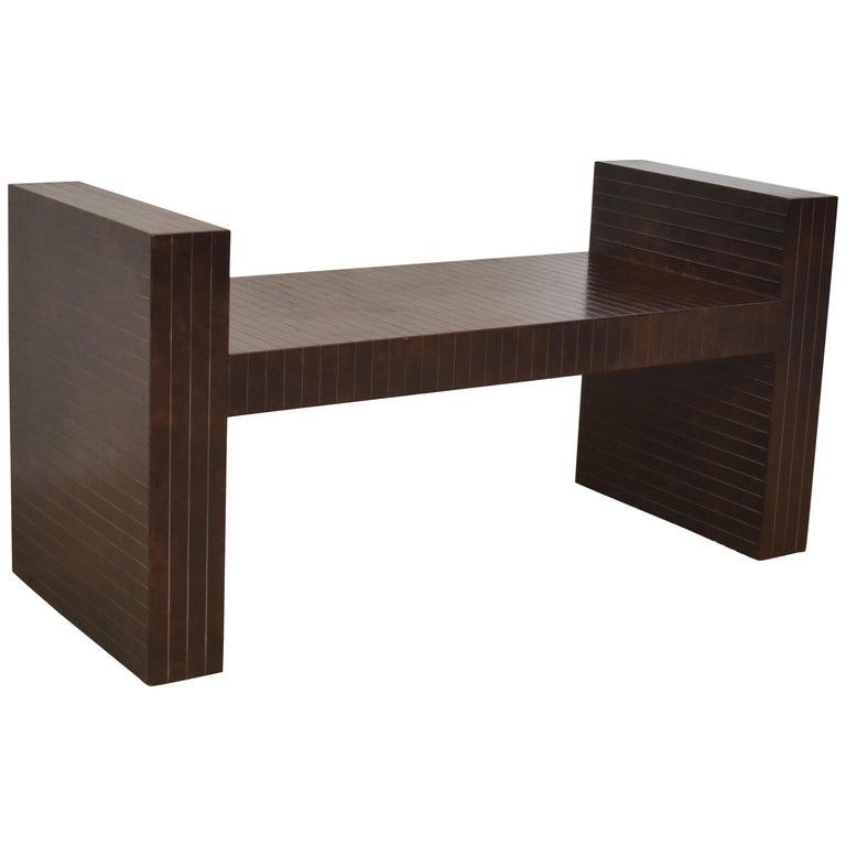Modern Sculptural Bench Clad in Scored Brown Leather by Karl Springer
