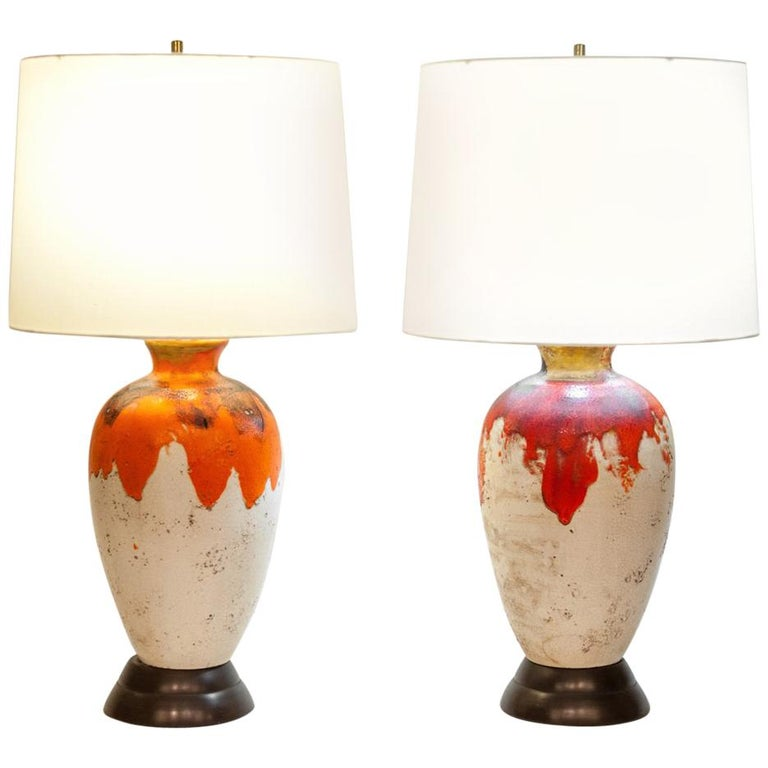 Vintage Pair of Drip Glazed Task or Table Lamps
