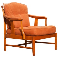 1960, Beech and Linen Easy Chair, Sweden