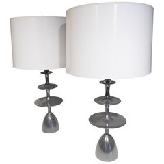 """Pair of Christopher Anthony Ltd. """"Metro"""" Table Lamps in Aluminum Coated Finish"""