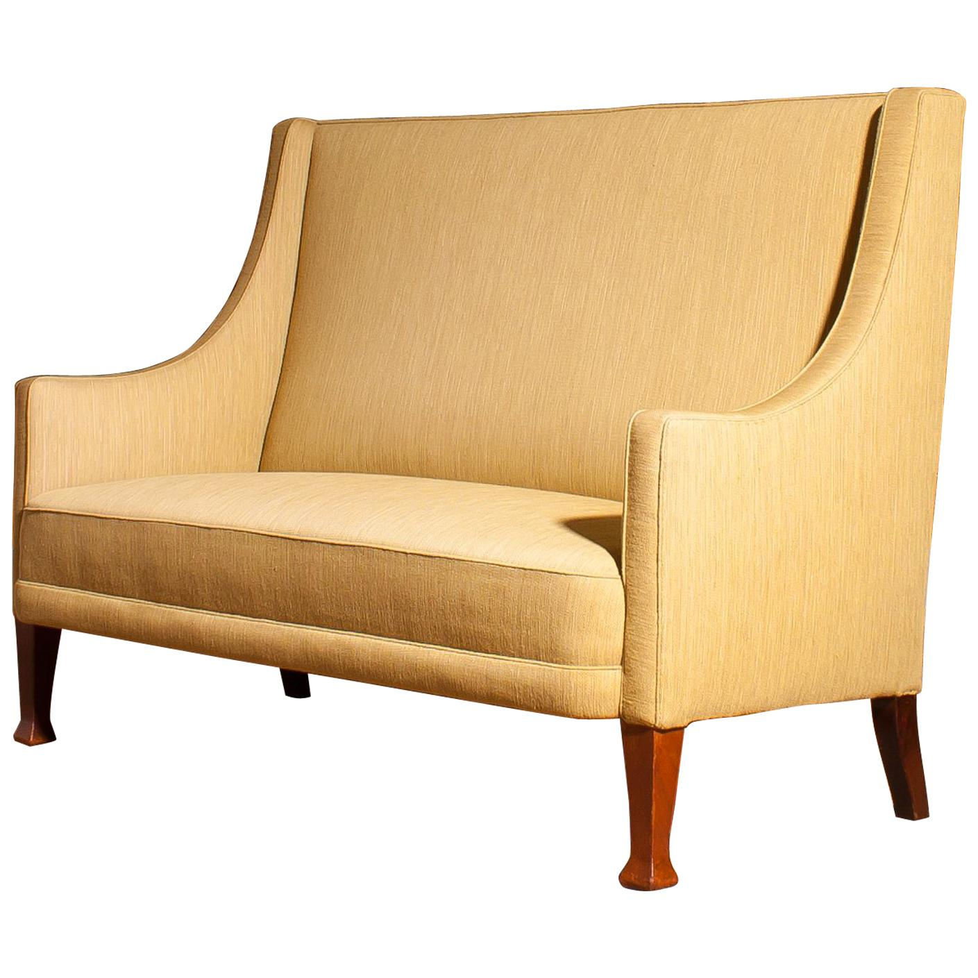 1950s Scandinavian High Back Sofa Couch Loveseat For Sale
