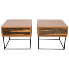 Brazilian Leather Wrapped End Tables with Rosewood Drawer Fronts