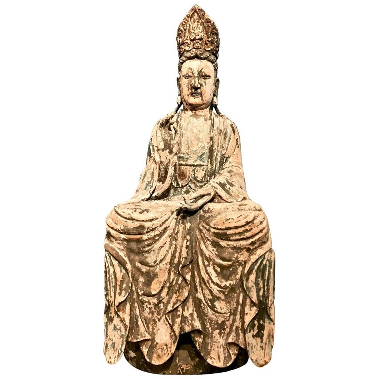 17th-18th Century Japanese Large Carved Wood Quan Yin