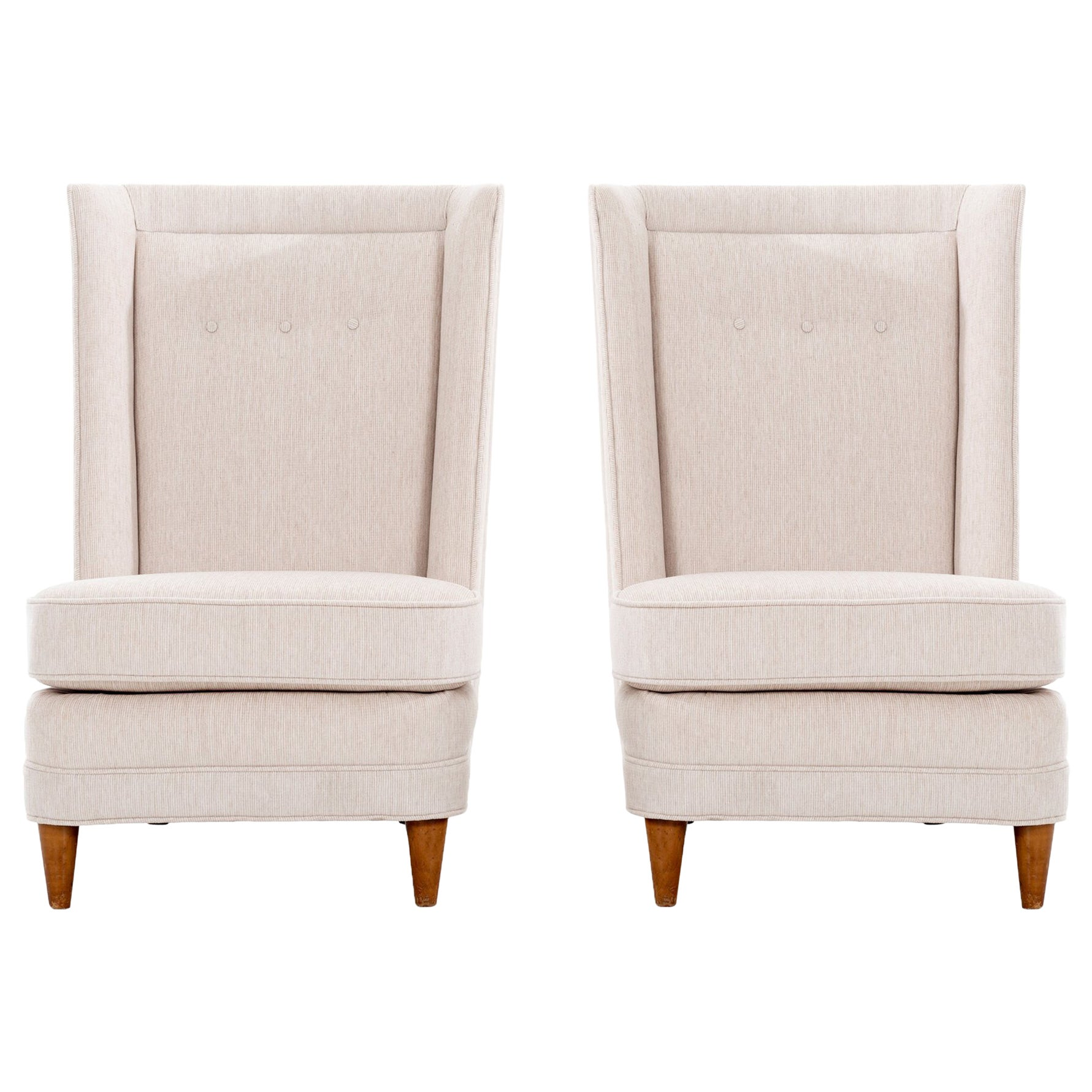Paul Laszlo Style High-Back Lounge Chairs