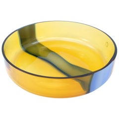 Amber and Blue Murano Glass Bowl by V. Nason & C. of Italy