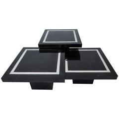 """Multi-Height Set of Three Tessellated Stone Square """"Mushroom"""" Tables, 1990s"""