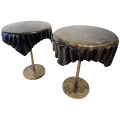 "Pair of Italian Goatskin and Brass ""Draped"" Occasional Tables"