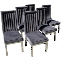 Set of Six Channel-Back Dining Chairs on Chrome-Plated Bases