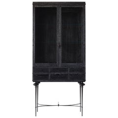 Contemporary Curio Cabinet in Cerused Rift Sawn Oak with Hand Cast Bonze Base