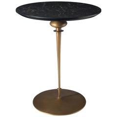 Contemporary Minaret Pedestal Table, Hand Cast Bronze Base and Caesarstone Top