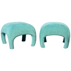 Curvaceous and Modern Footstool / Ottomans by Directional, a Pair
