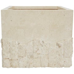 Large Tessellated White Stone Square Rough and Smooth Planter, 1990s