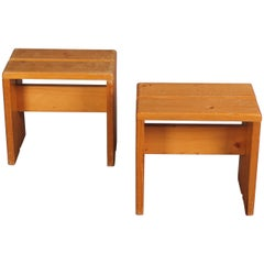 Charlotte Perriand Pair of Les Arcs Stools