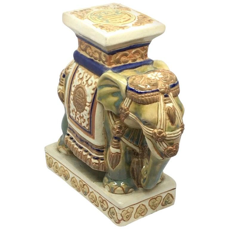 Petite Vintage Hollywood Regency Chinese Elephant Flower Pot Stand