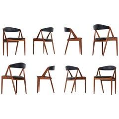 Kai Kristiansen Dining Chairs Set of Eight Model #31 Danish Teak
