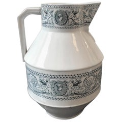 Victorian Aesthetic Style British Blue and White Ceramic Jug  1870