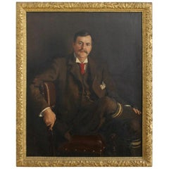 English, Large Scale, Oil On Canvas, Portrait Painting of Mr F Binney Esq