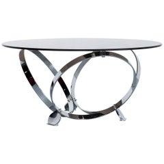 Ronald Schmitt Diamond Designer Glass Coffee Table Silver Round