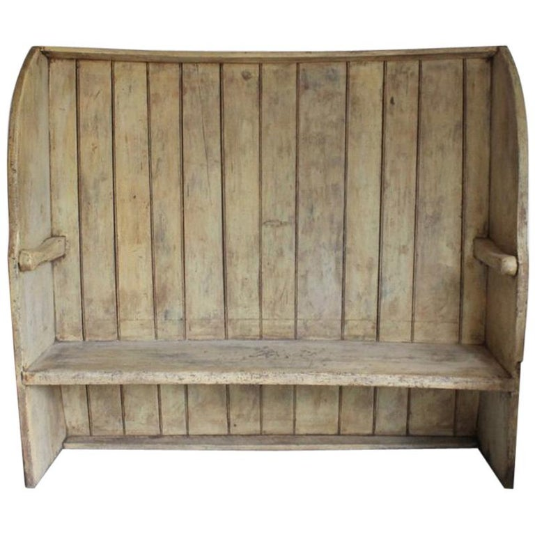 Early 19th Century West Country Original Painted Pine Settle Bench