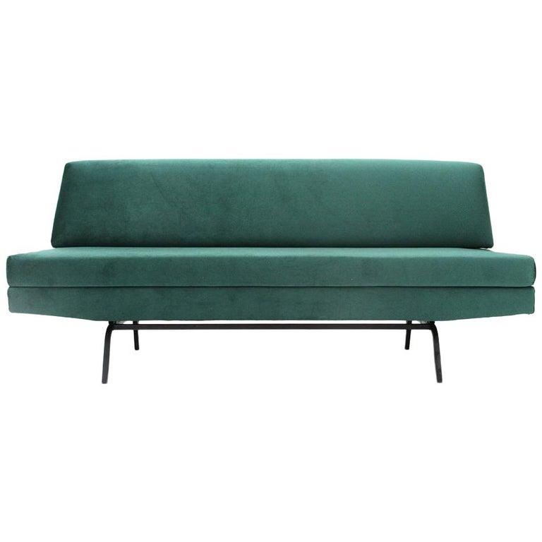 Italian Sofa Bed in Green Velvet, 1960s