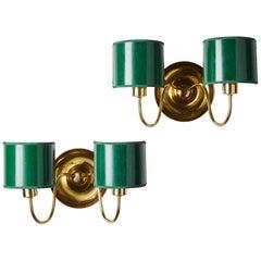 Pair of Wall Lamps Designed by Josef Frank for Svenskt Tenn, Sweden, 1950s