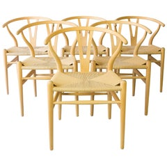 Set of Six Hans Wegner CH24 Wishbone Chairs