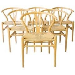 Set of Six Beech Dining Chairs, Wishbone CH24, Hans Wegner, Denmark