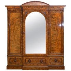 Superb Victorian Three-Door Walnut Wardrobe