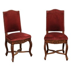 Pair of Louis XV Style Side Chairs with Upholstered Backs, France, ca. 1890