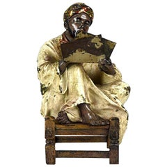Austrian Cold Painted Bronze 'Arab Scribe' by Franz Bergman