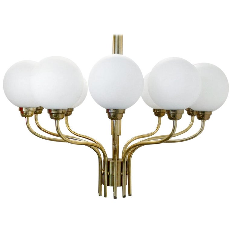 Glass and Brass Chandelier Ceiling Light Pendant, 1960s