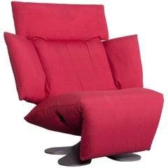 Ligne Roset Designer Fabric Armchair Red One-Seat Chair