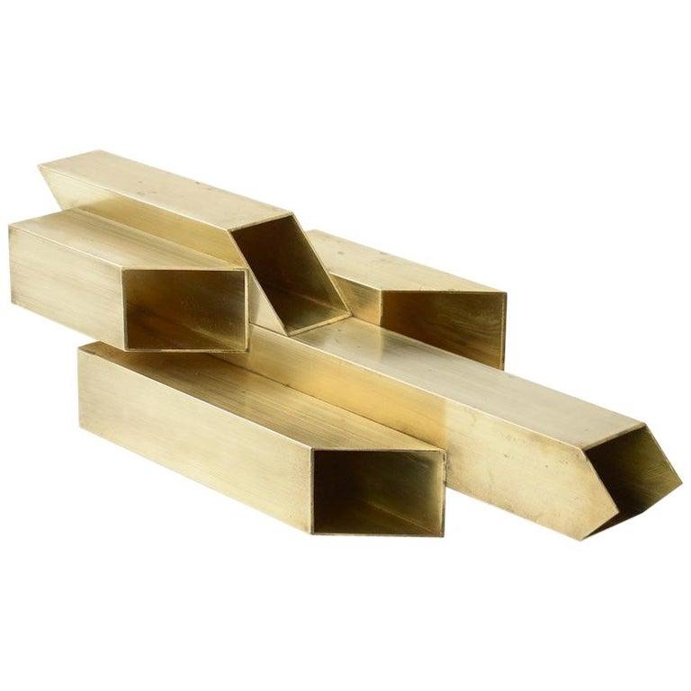 Geometric Brass Sculpture For Sale