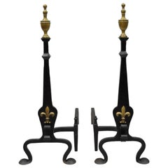 Wrought and Forged Iron Brass Urn Finial Gothic Revival Fireplace Andirons, Pair