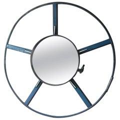 Industrial Wheel Mirror in Blue Iron