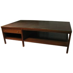 Paul McCobb Mid-Century Modern Leather Top and Walnut Cocktail Table for Calvin