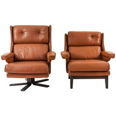 2 Mid-Century Leather Lounge Chairs
