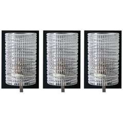 Set of Three French Modernist Glass Sconces Wall Lights, 1960s