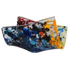 Jimmiz Marea Contemporary Organic Multi-Color Glass Centerpiece Sculpture
