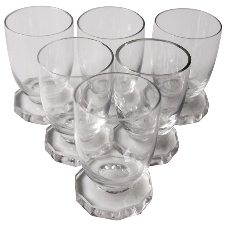 René Lalique Art Deco Set of Six Lille Liqueur Glasses