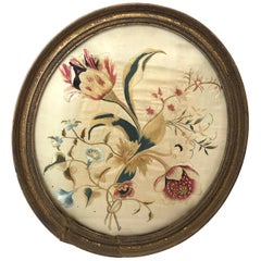First Quarter of the 19th Century Oval Floral Embroidery