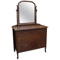 1910 Quarter Sawn Carved Oak Dresser with Mirror and Roomy Drawers