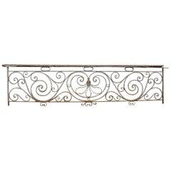 1890s Rococo Wrought Iron Balcony Railing
