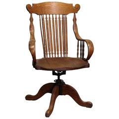 1920s Tiger Oak Spindle Back Adjustable Swivel Chair with Bentwood Arms