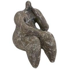 Seated Figurative Gres Noir Sculpture by Cristelle Berberian